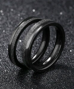 Stainless Steel Black Frosted Matte Couple Rings