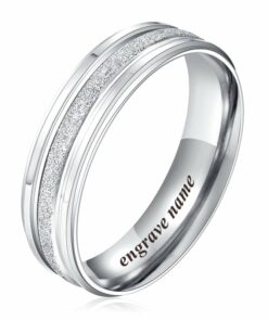 Stainless Steel Frosted Silver Couple Rings