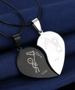Couple Pendant Necklace Love You Heart Puzzle Matching