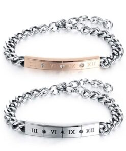 Customize Stainless Steel Roman Numeral Bracelets
