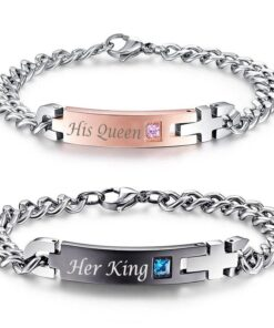Couple Bracelets, Her King His Queen Bracelets [Set of 2]