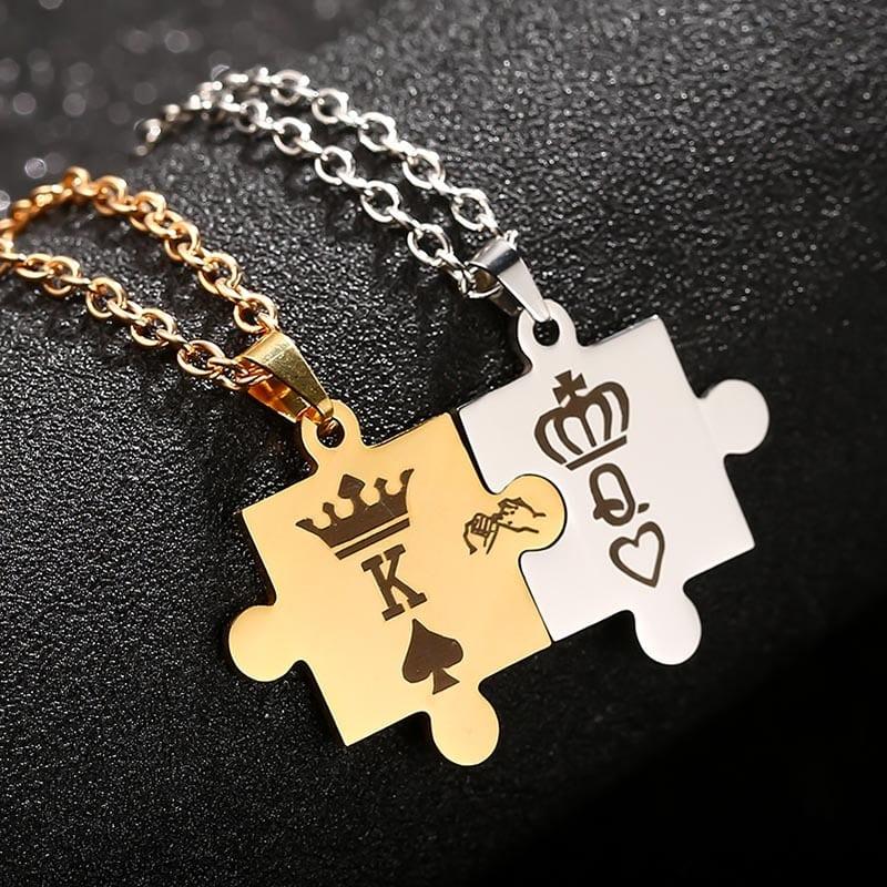 415d61c0dfd King Queen Crown Couple Necklaces - CoupleStar