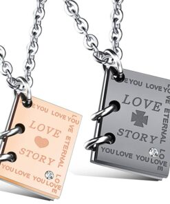 Love Story Notebook Stainless Steel Charm Necklaces