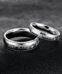 Her King His Queen Stainless Steel Engagement Rings