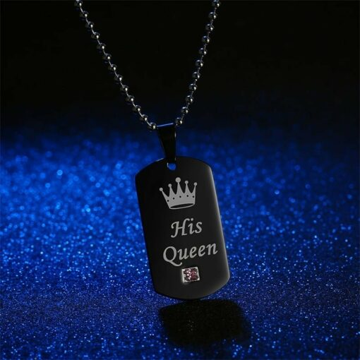 His Queen Her King Couple Pendant Necklace