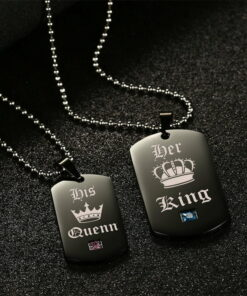His Queen Her King Crown Tag Pendant Matching Set
