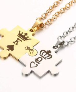 King Queen Crown Couple Necklaces
